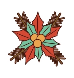Christmas flower decorative icon vector