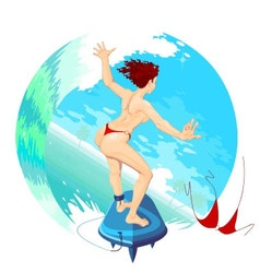 Surfergirl sliding on the ocean waves vector