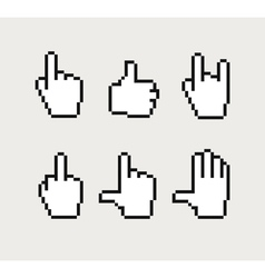 Pixel hand cursors collection vector image