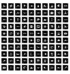 100 sea life icons set grunge style vector image
