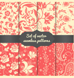 Set of flower seamless pattern vector