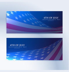 Set of banners with american flag vector