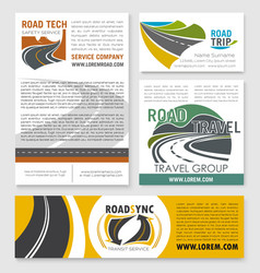 Road trip car travel banner template set design vector