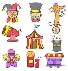 art circus object doodles vector image