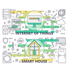 Thin line internet of things and smart vector