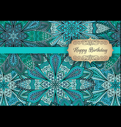 Turquoise blue greeting template outer vector