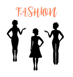 Fashion woman silhouette in business style vector