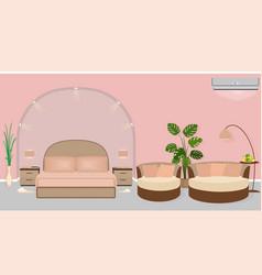 Modern hotel room interior with houseplants sofa vector