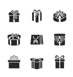 Gift boxes icons set with different ribbons and vector