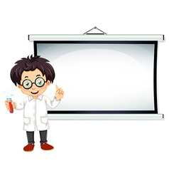 Scientist and screen vector
