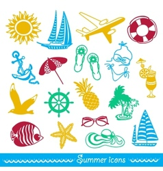 Colorful summer icons vector