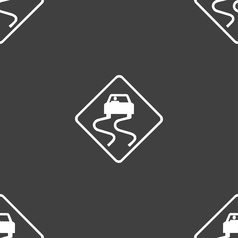 Road slippery icon sign seamless pattern on a gray vector