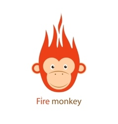 Funny redhead fiery monkey on vector