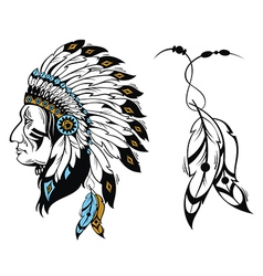 North american indian chief vector