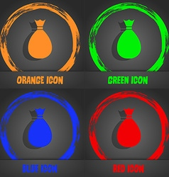 Bag icon fashionable modern style in the orange vector