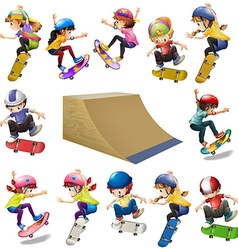 Boys and girls skateboarding on the ramp vector