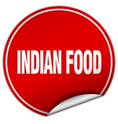Indian food round red sticker isolated on white vector