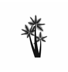 Three tropical palm trees icon simple style vector