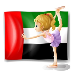 A ballet dancer in front of the uae flag vector