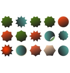 An image of a colorful starburst dent set vector