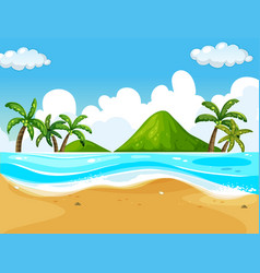 background scene with beach and ocean vector image vector image