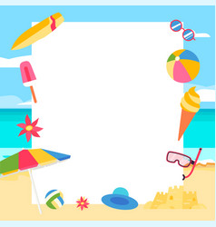 beach background summer concept with cartoon vector image
