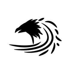 Black raven icon vector
