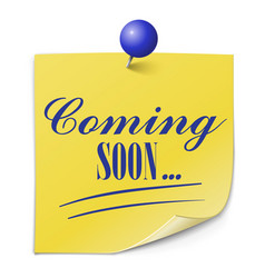 Coming soon paper message on white background vector