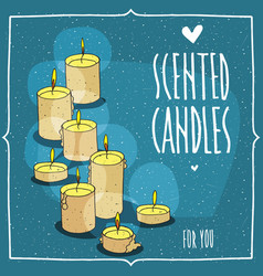 composition with yellow burning candles vector image
