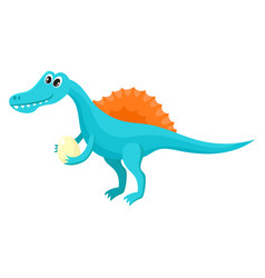 cute and funny smiling baby spinosaurus dinosaur vector image vector image