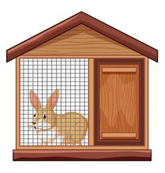 Cute rabbit in cage vector