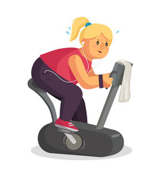 Fat woman training lose weight fat woman vector
