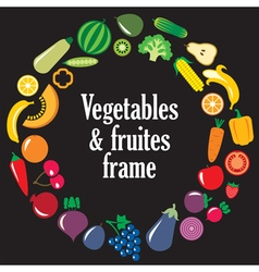 Fruits vegetables frame vector