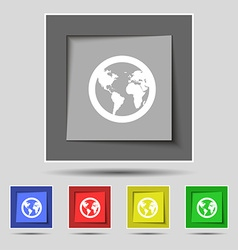 Globe icon sign on original five colored buttons vector