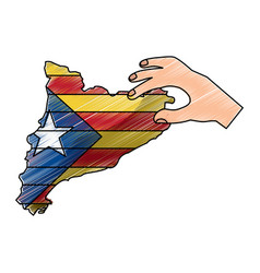 Hand holding map of catalonia independent vector