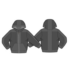 hooded jacket with zip closure and pockets vector image vector image