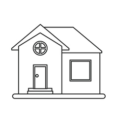 House home property round window outline vector