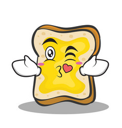 Kissing face bread character cartoon vector