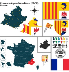 Map of Provence Alpes Cote dAzur vector image vector image
