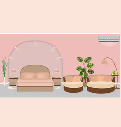 modern hotel room interior with houseplants sofa vector image vector image
