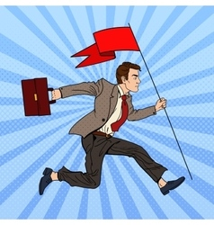Pop Art Businessman Running with Flag to Success vector image vector image