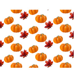pumpkin pattern background leaves autumn vector image