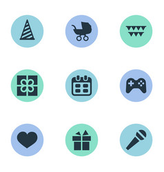 set of simple birthday icons vector image vector image