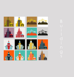 set of skyscrapers buildings isolated tower vector image vector image