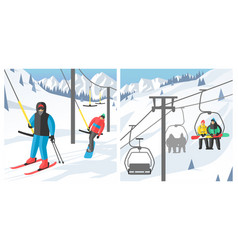 Snowboarder sitting in ski gondola and lift vector