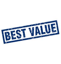 square grunge blue best value stamp vector image