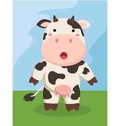 Standing cute cow cartoon vector