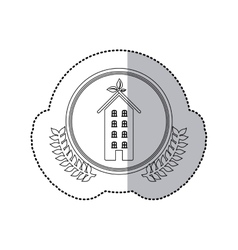 Sticker monochrome half shadow and apartment with vector