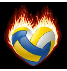 volleyball on fire in the shape of heart vector image vector image