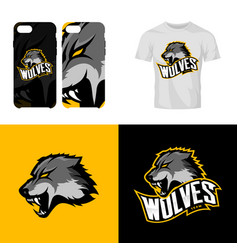 Wolf head sport club isolated logo concept vector